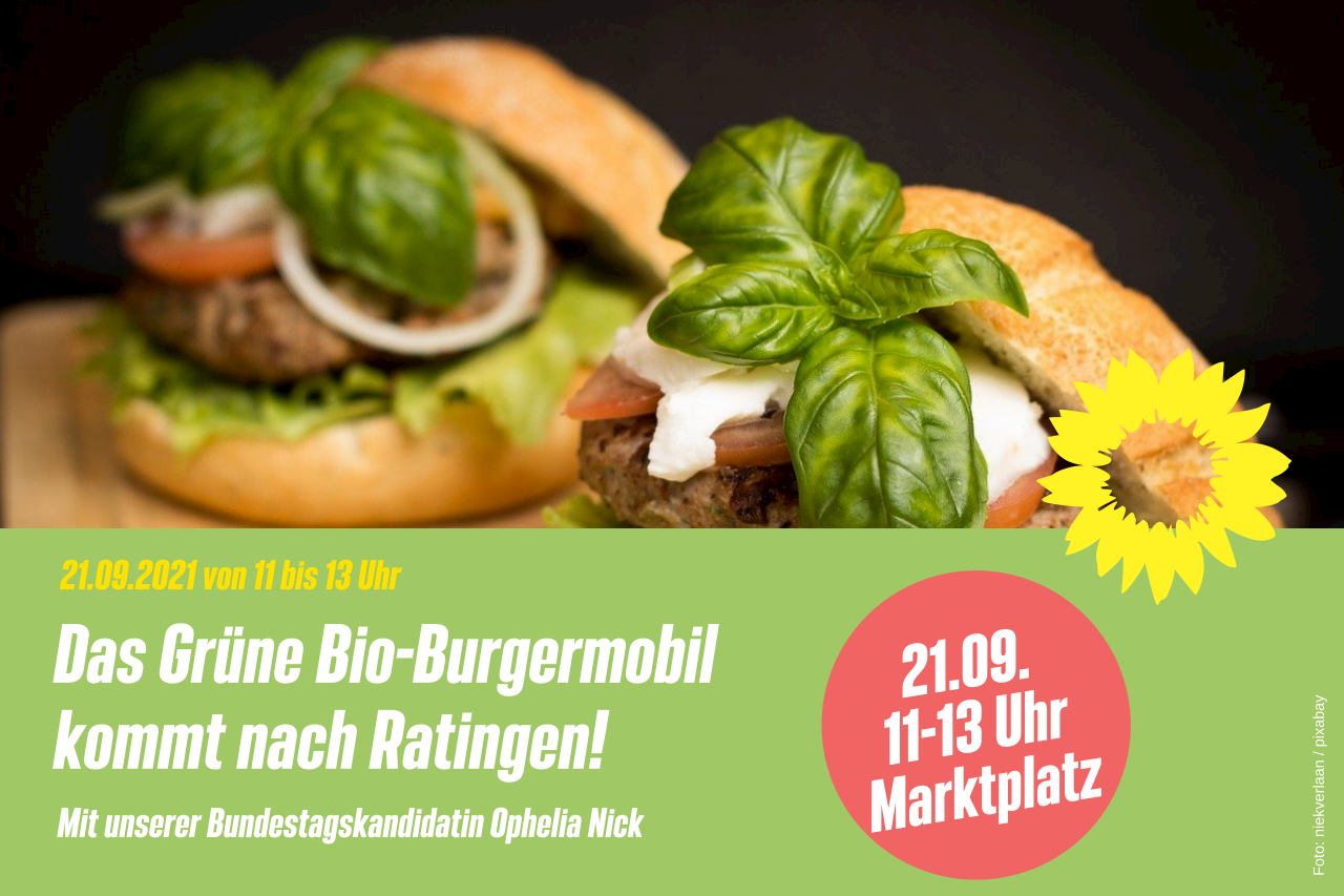 Grünes Bio-Burgermobil in Ratingen